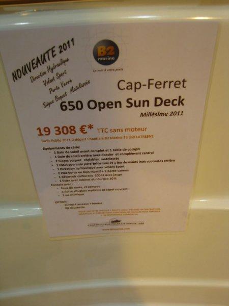 prix salon paris 2010 B2 Marine Cap Ferret 650 Open Sun Deck