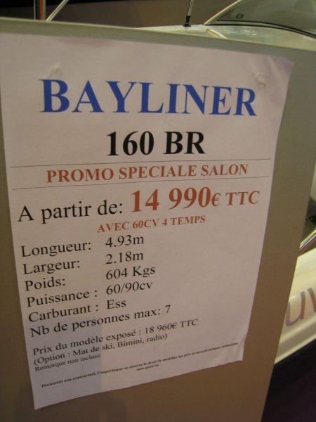 prix salon paris 2010 Bayliner 160 BR