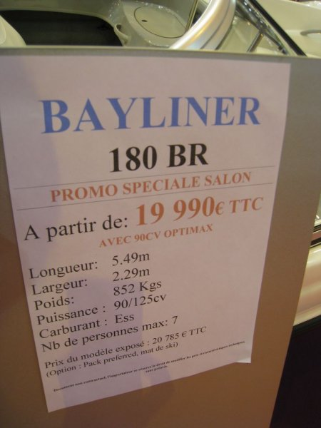 prix salon paris 2010 Bayliner 180 BR