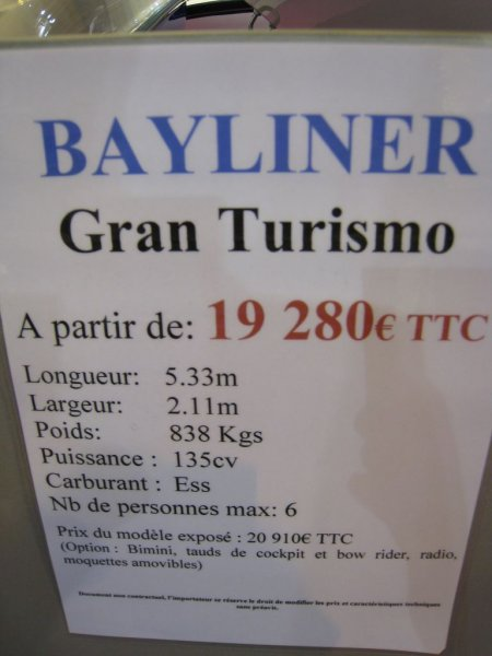 prix salon paris 2010 Bayliner Gran Turismo