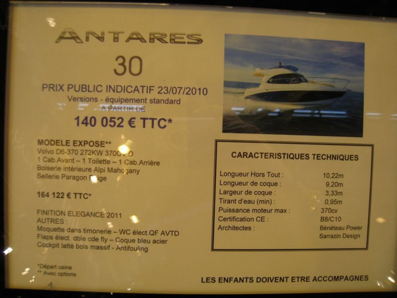 prix salon paris 2010 Beneteau Antares 30