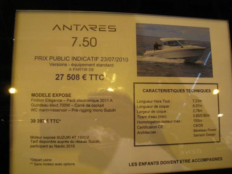prix salon paris 2010 Beneteau Antares 7.50