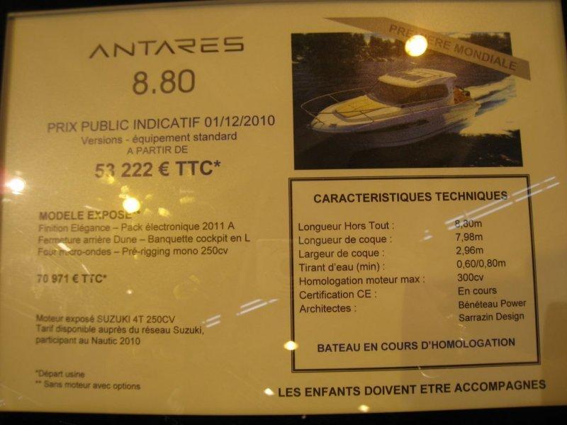 prix salon paris 2010 Beneteau Antares 8.80