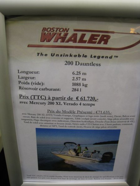 prix salon paris 2010 Boston Whaler 200 Dauntless