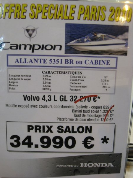 prix salon paris 2010 Campion 535 I BR cabine
