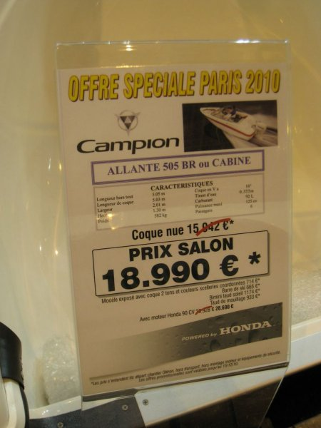 prix salon paris 2010 Campion Allante 505 BR cabine
