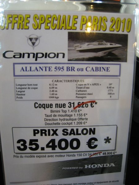 prix salon paris 2010 Campion Allente 595 BR cabine