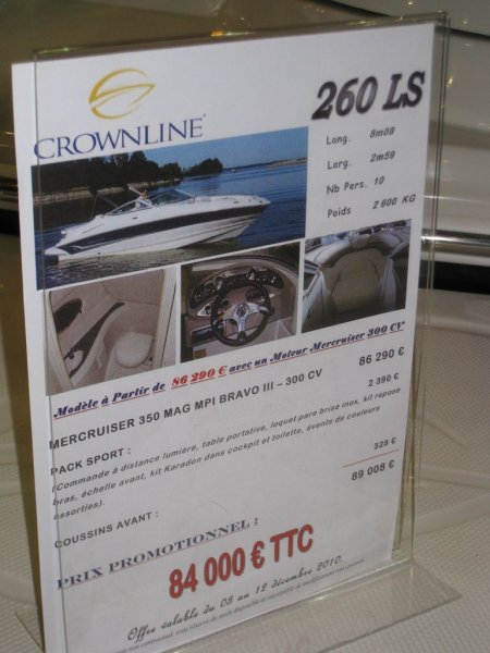 prix salon paris 2010 Crowline 260 LS