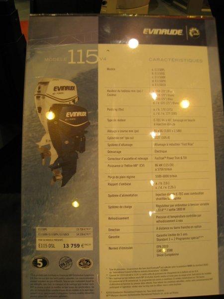 prix salon paris 2010 Evinrude Etec 115cv