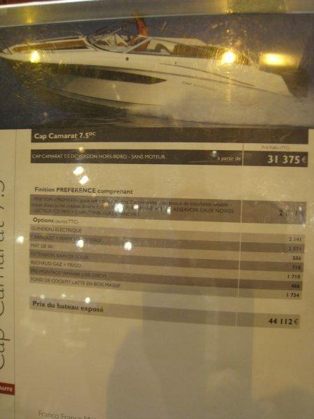 prix salon paris 2010 Jeanneau Cap Camarat 750 DC
