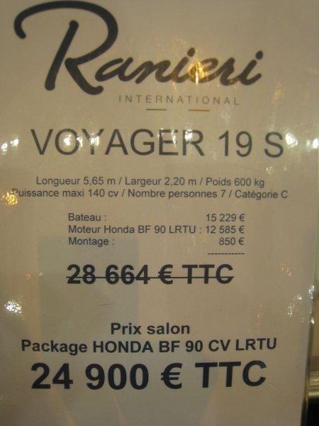 prix salon paris 2010 Ranieri voyager 19S