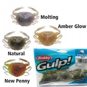 Crabe Gulp couleur vert natural imprégné pour la pêche au bar