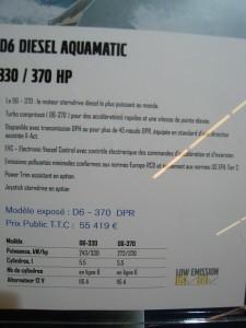 Tarif salon paris 2010 Volvo penta D6 Diesel Aquamatic DPR 330 à 370